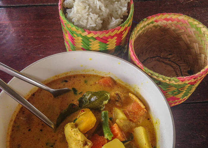Gaeng Pet Gai red curry with pumpkin and chicken in Laos traditional foods from Laos